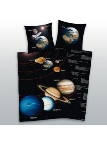 Herding Kinder-Wendebettwäsche Unser Sonnensystem, Linon, 135 x 200 + 80 x 80 cm