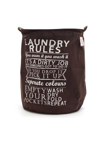 """Pink Papaya Wäschesack """" Laundry Rules """" in braun/weiß"""