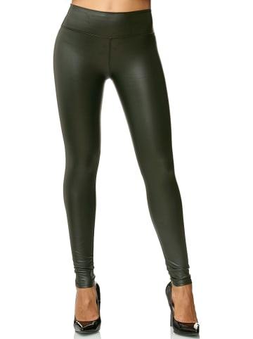 EGOMAXX Leggings Leder Optik High Waist Stretch Hose Wet Look in Grün