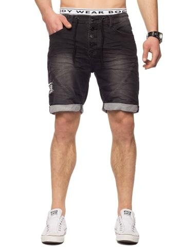Sublevel Bermuda Sweat Jeans Shorts Stretch Pants in Dunkelgrau-3