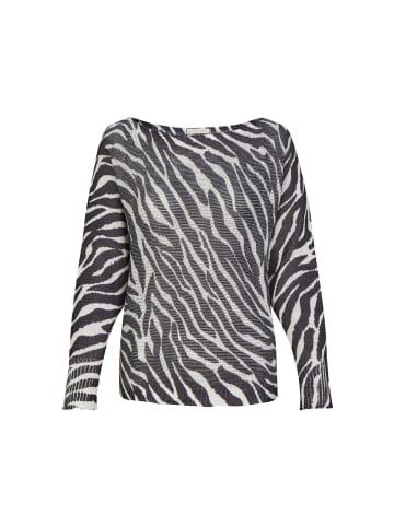 Heimatliebe Leichter Pullover im Animalprint Design in animalprint schwarz-weiß