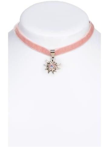 Schuhmacher Halskette 9197 Samtband Edelweiss, rose