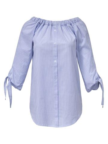EMILIA LAY Streifen-Bluse 3/4-Arm in hellblau/weiß