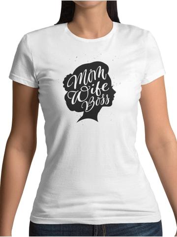 Mamino Damen T Shirt -Mom wife boss head in weiss