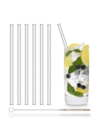 HÅLM 6er Set Trinkhalme: Glas-Strohhalme in Transparent - 20 cm