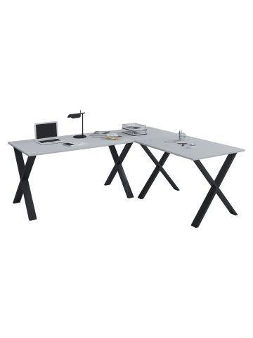 VCM  Büromöbel Eckschreibtisch Lona 50 X Alu Schwarz in 160x160x50: Grau