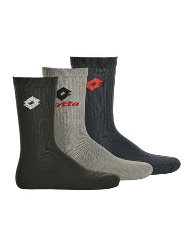 Lotto Socken 3er Pack in Schwarz/Grau/Blau