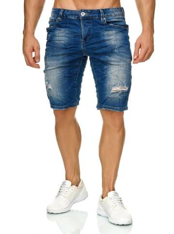 Leo Gutti Jeans Shorts Stretch Kurze Bermuda Hose H2270 in Blau
