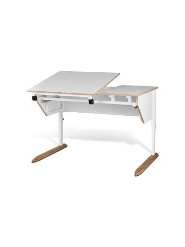 """TiSsi Schülerschreibtisch """"Paul"""" in Weiß - geteilte Platte  68 x69 cm / 68 x 39cm"""
