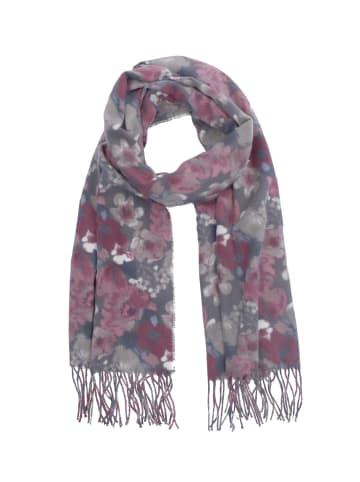 Six Schal mit Blumen-Muster und Fransen in schwarz