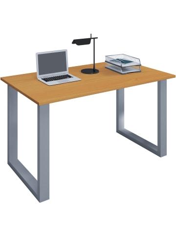 VCM  Holz Schreibtisch Computertisch Lona U Alu Silber in B. 140 x T. 80 cm: Buche