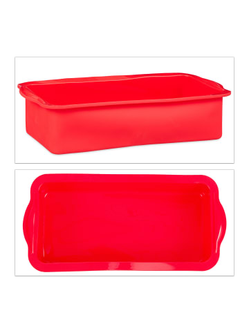 Relaxdays 4x Kastenkuchenform in Rot - Ø 28,5 cm