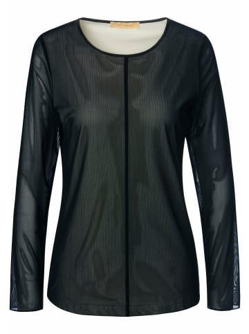 TRUE STANDARD Langarmshirt mit leichter Transparenz in schwarz/weiß