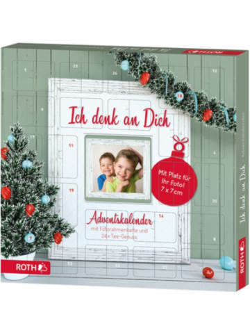 "Roth Ideen Fotorahmen-Adventskalender ""Ich denk an Dich"" mit Tee B35xH35xT4 cm"