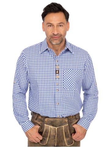 OS-Trachten Karo Langarmhemd 420007-2602-42 blau