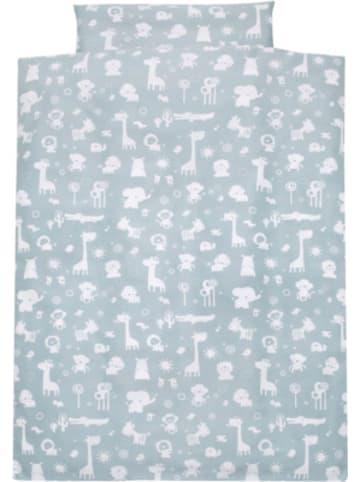Alvi Kinderbettwäsche Zootiere, Baumwolle, blau, 100 x 135 + 40 x 60 cm