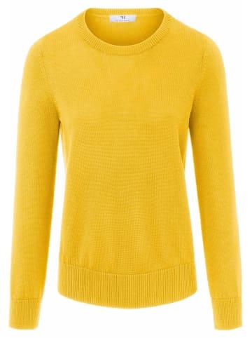 PETER HAHN Pullover Rundhals-Pullover aus Baumwolle in gelb