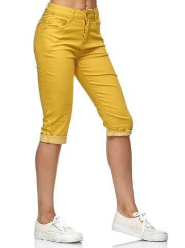 Simply Chic Kurze Capri Jeans Shorts Sommer Bermuda 3/4 Hose in Gelb