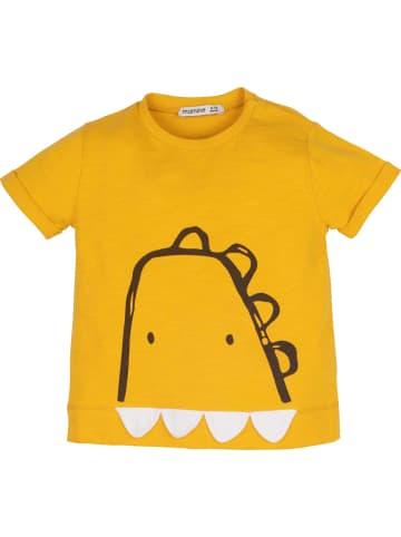 Mamino Kindermode Jungen T-Shirt -Dino in senf