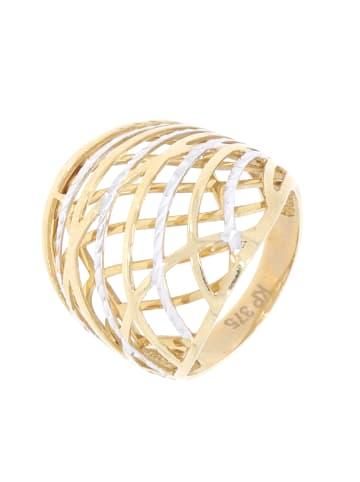 """Luxxos Designring """"bicolor aus 375 Gelbgold"""" in gold und weiß und silber"""