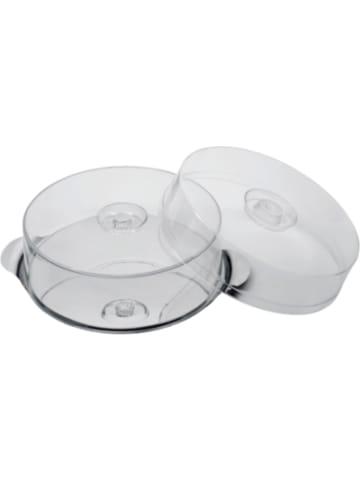 APS Edelstahl Kuchen- & Tortenplatte mit 2 Hauben (H 7 cm + 11 cm) ø 30cm