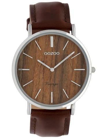 Oozoo Damenuhr Vintage Holz Braun/Lederband 40 mm