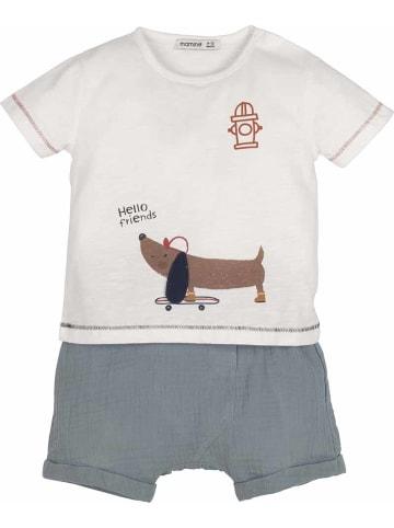 Mamino Kindermode Baby Junge Jungen Set 2tlg. -hellow friends in creme