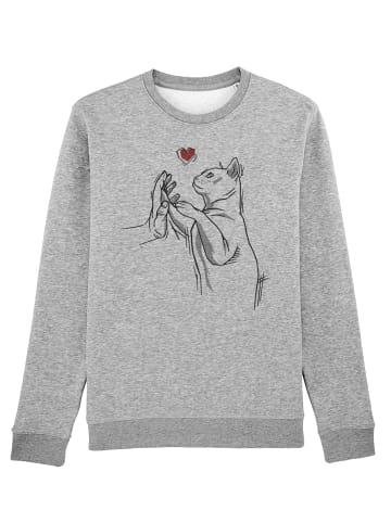 Wat? Apparel Sweatshirt Cat Hand in Grau meliert