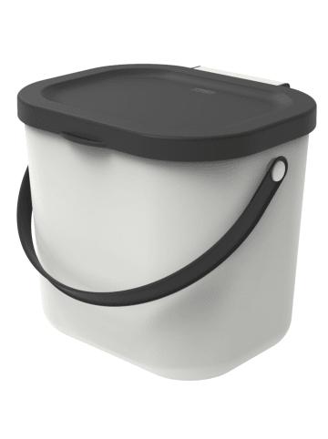 Rotho Albula Biomülleimer 6l mit Deckel und Henkel in weiss/anthrazit