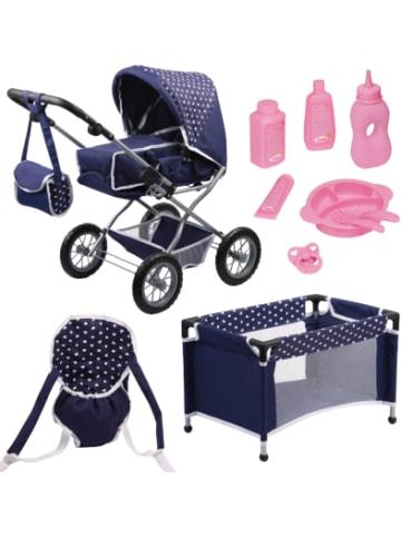 Bayer Design Kombi-Puppenwagen und Komplett-Set blau für die Babypuppe