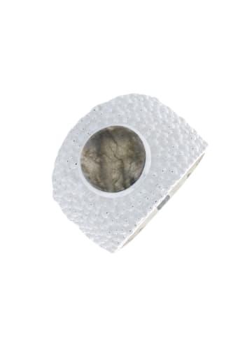 """Luxxos Ring """"9 mm Labradorit"""" in silber und blau und grau und bunt"""