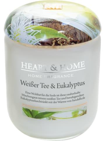 "HEART & HOME Große Duftkerze ""Weißer Tee & Eukalyptus"", 340 g"