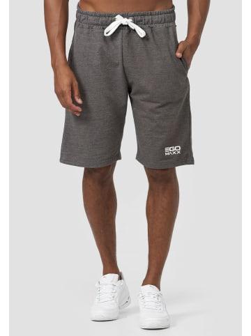 EGOMAXX Sweat Shorts Kurze Baggy Sport Hose mit Tunnelzug Logo in Grau