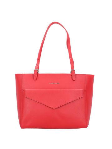 Lancaster Saffiano Signature Shopper Tasche Leder 33 cm in rouge