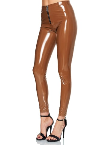 EGOMAXX Vinyl Hose Wet-Look Lederhose Lederoptik Coated Skinny Leggings in Hellbraun