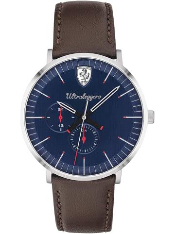 Scuderia Ferrari Multi Zifferblatt Uhr 'Ultraleggero' in Blau/Braun