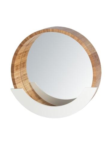 Wenko Wandspiegel Finja mit Ablage, Kosmetikspiegel, Dekospiegel, Bambus in Braun
