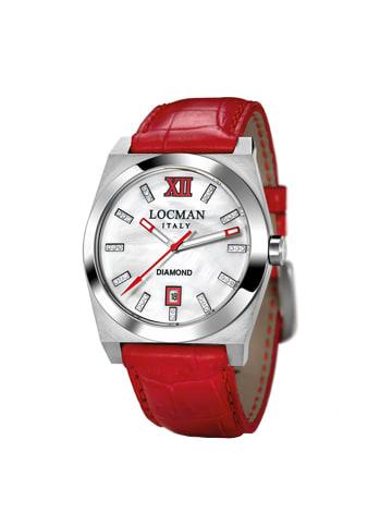 """Locman Damenuhr """"Stealth mit Diamanten 0203"""" in rot und weiß"""