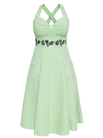 Queen Kerosin Vintage Swing-Kleid mit floraler Stickerei in mint