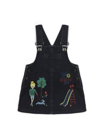 Panco Brustlatzhose - mit Strickfiguren - für Mädchen in Marineblau