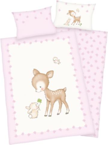 Herding Kinder-Wendebettwäsche Reh, Renforcé, 100 x 135 + 40 x 60 cm