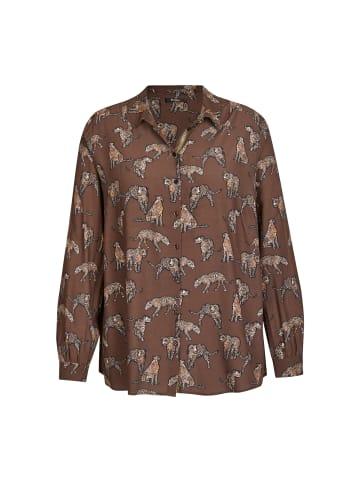 FRAPP  Bluse Extravagante Langarmbluse mit exotischem Muster in brown multicolor