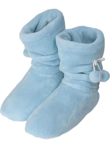 Normani Damen-Fleece-Hausschuhe mit Bommeln in Hellblau