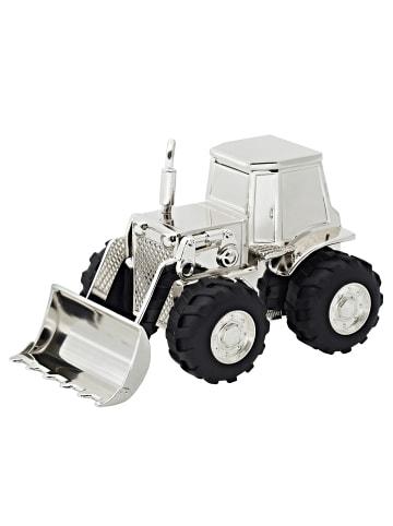 Edzard Spardose Traktor in Silber, versilbert und anlaufgeschützt H 9 cm, L 14 cm