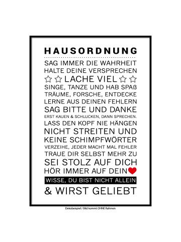 """SMART ART Kunstdrucke Kunstdruck / Poster """"Hausordnung"""" / A4 oder A3"""