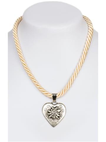 Schuhmacher Halskette K100 Kordel Herz mit Edelweiss, beige