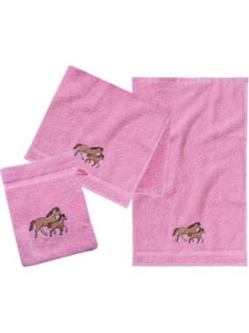 MyToys-COLLECTION Frottierset, 2 Handtücher & 1 Waschlappen, Pferd, rosa von Pötter