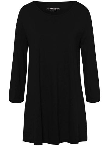 Green Cotton 3/4-Arm-Shirt Longshirt in schwarz