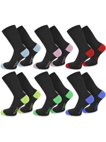 Normani 6 Paar Socken New Style in Hellblau/Hellrosa/Rot/Lime/Grün/Royal
