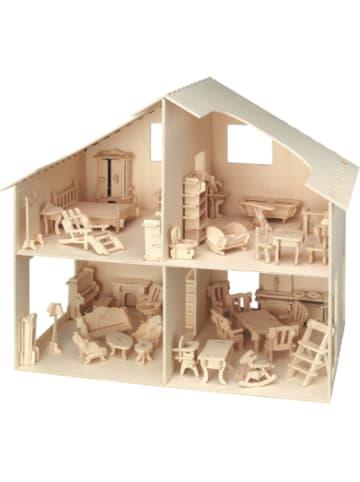 Pebaro Holzbausatz Puppenhaus (inkl. Möbel - über 40 Teile)